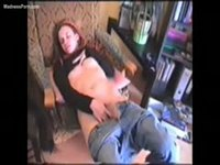Pale redhead teen amateur fingering herself in jeans