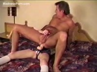 Young girl uses dildo to fuck guy in the ass