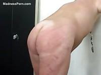 Horny guy spanking his ass hardly