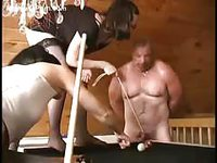Humiliated dude in bdsm has his balls smashed on the pool table