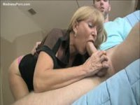 Horny MILF gives her son a blowjob