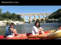 Pair of mature whores canoeing in adult diapers