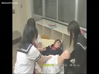 Trio of asian schoolgirls enjoy dressing one another in adult baby diapers