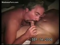 Two bisexual dudes satisfy themselves first before feasting on the girl
