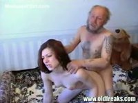Older homeless dude fucking an older homeless guy she saved