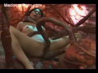 Unsuspecting asian girl used and abused by tentacle monster
