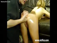 Aggressive boyfriend fisting his well oiled hot girlfriend in the ass and pleasuring her pussy