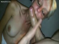 Platinum blonde mature newcomer gagging and sucking on a large cock in this POV