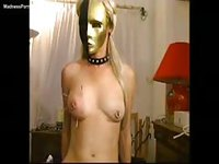 Painted and submissive never before seen slut in thigh highs has her tits syringed