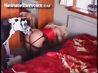 Incredible blonde cougar in lingerie and thigh highs rammed by a huge beast