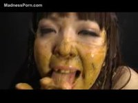 Wild asian amateur eating shit before she's toy fucked covered in scat