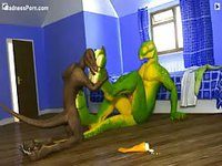 Bizarre animated sex video featuring two lizards in a bedroom