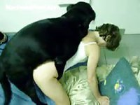 Once innocent petite teenage girl licked and screwed by her boyfriends dog