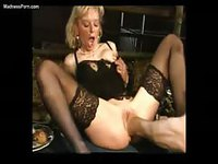 Beautiful blonde milf getting a deep fist fucking for her first time