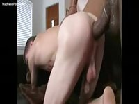 Skinny white dude giving a blowjob to a well hung black man before getting fucked