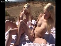 Cute blonde teen twin sisters stripping and masturbating outdoors