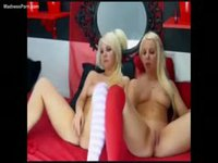 Insatiable blonde amateur twin sisters get hot during cam show