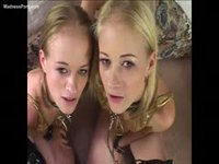 Beautiful blonde twin sisters take turns having their ass fucked by this porn producer