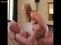 Cute babe midget rides an old dude