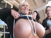 Rich woman shows her huge boobs just for fun