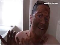 Fat American bitch adores masturbating in shit