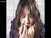 Hungry young Asian girl takes a small cash payment to eat fresh scat in her debut fetish movie