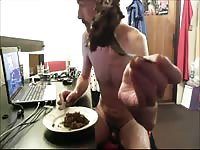 Petite middle-aged recently divorced dude feeding himself a huge helping of scat from his ass