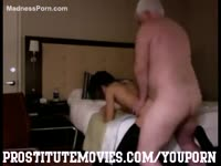 Luckiest grandpa ever bends over a beautiful teenage whore and screws her good in a motel