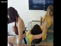 Hot pissing fetish movie featuring a trio of steamy college-aged girls