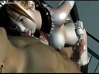 Big breasted young Asian cartoon slut in a maid uniform sucking and fucking in this anime video