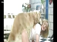 Kinky blonde married woman pleases her husband's bestiality cravings and bangs their dog