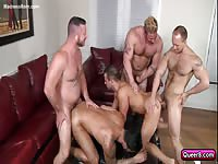 Four gay lovers engage in fantastic group sex in this anal adventure featuring four hung hunks