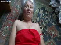 Gray-haired grandma is getting banged by her old son