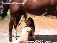 Pure-breasted exotic looking college girl gets a face full of horse cum in this animal sex video