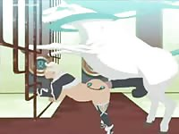 Creative high-quality animation fetish movie features a white stallion banging a little tight whore
