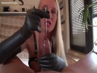 Insane insertion as a guy voluntarily exposes his cock for a hot blonde to slide a metal rod into