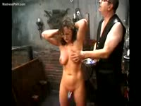 Middle-aged dude punishing his thick girlfriend while she's in BDSM restraints