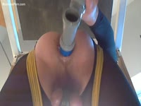 Office worker is fucked with a dildo