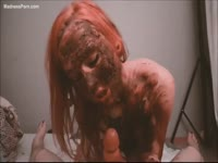 Wild redhead housewife covered in shit while showing off her cock sucking skills