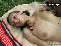 Juicy teen fucking movie captured during outdoor picnic with a blazing hot leggy newcomer