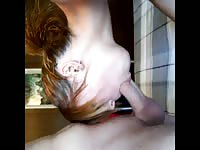 Fun redhead nineteen year old home grown whore giving a nice blowjob to her happy partner
