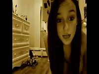 Fabulous home movie features a beautiful brunette eighteen year old exposing herself on video