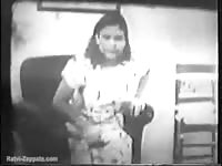 Rare old school animal fucking video captured at home as a housewife got fucked by a K9