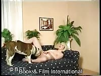 Book and Film - Sex-addicted never before seen blonde big breasted cougar mounted and stuffed by large K9