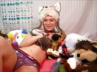Slutty teenager with wild animal fantasies sliding her soaked cunt up and down a huge dildo