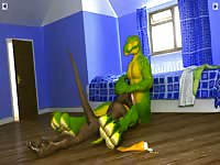 Huge green creature enjoying a blowjob from a cock hungry beast in this xxx animation movie