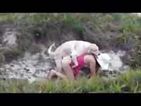 College tramp getting her tight hole rammed by an endowed horny dog in this beast sex flick