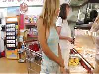 Fun loving bleached blonde flashing her flawless tender breasts in a public grocery store
