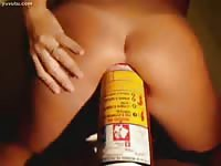 Fabulous never seen before tight bodied coed skank taking a massive anal insertion with can