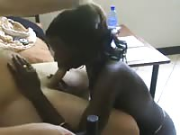 Ebony princess on her knees serving blessed white dude with a wonderful blowjob session